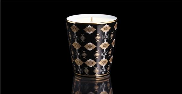 Pot à bougie en Porcelaine de Limoges au décor ethnique modèle Africa noir - Lorenza-difilippo.fr