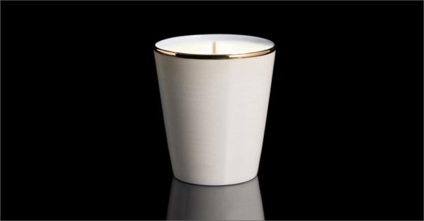 Bougie de luxe en Porcelaine de Limoges couleur ivoire - Lorenza-difilippo.fr