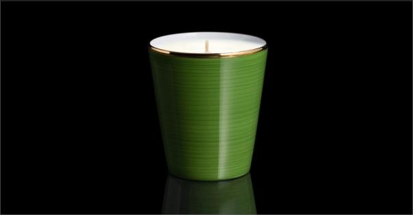 Bougie de luxe en Porcelaine de Limoges de couleur verte - Lorenza-difilippo.fr