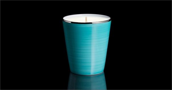 Bougie de luxe en Porcelaine de Limoges couleur turquoise - Lorenza-difilippo.fr