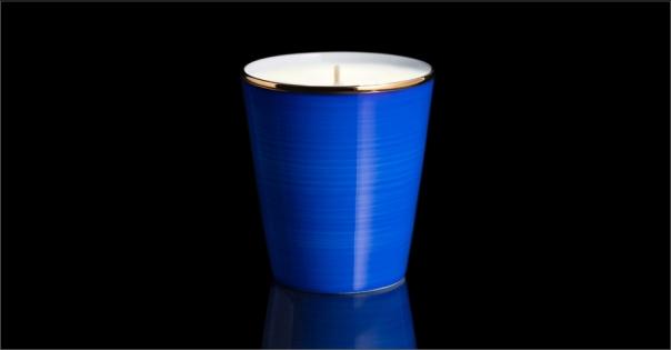 Bougie de luxe en Porcelaine de Limoges couleur bleu roi - Lorenza-difilippo.fr
