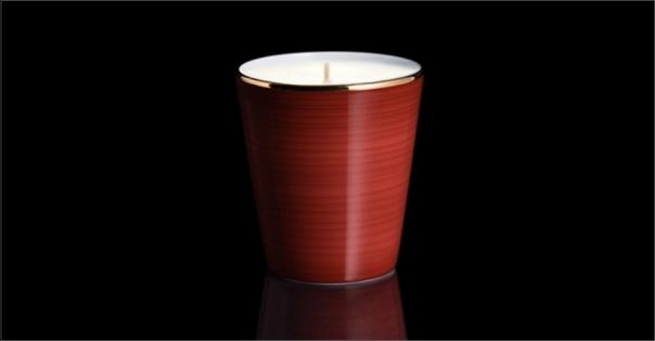Bougie de luxe en Porcelaine de Limoges couleur brun rouge - Lorenza-difilippo.fr