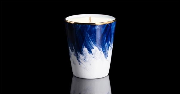 Bougie de luxe en Porcelaine de Limoges modèle Petra bleu - Lorenza-difilippo.fr