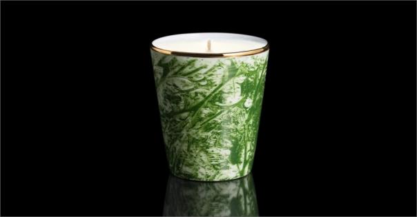Bougie de luxe en Porcelaine de Limoges modèle Adelaïde vert - Lorenza-difilippo.fr