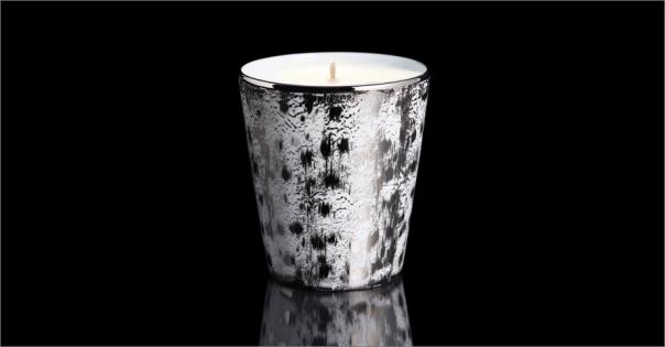 Bougie de luxe en Porcelaine de Limoges modèle Sahara blanc et platine - Lorenza-difilippo.fr