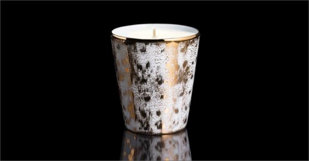 Bougie de luxe en Porcelaine de Limoges modèle Sahara blanc et or - Lorenza-difilippo.fr