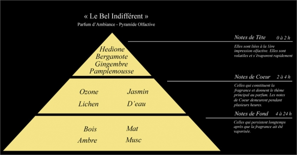 Pyramide olfactive Parfum d'ambiance Le Bel Indifférent - Lorenza-difilippo.fr