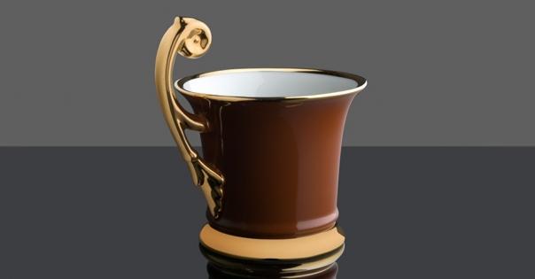 Tasse en porcelaine de Limoges couleur caramel - Modèle Royale - Lorenza-difilippo.fr