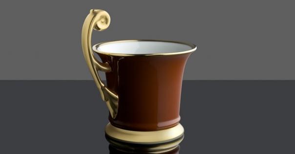 Tasse en porcelaine couleur caramel rehaussée d'or mat - Modèle Royale - Lorenza-difilippo.fr
