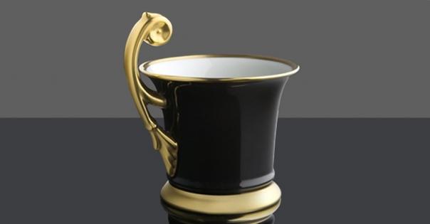 Tasse en porcelaine de Limoges - Modèle Royale en noir et or mat -  Lorenza-difilippo.fr