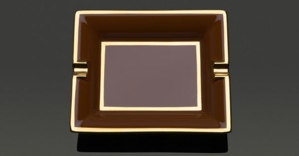 Cendrier en Porcelaine de Limoges couleur caramel - Modèle Byzance - Lorenza-difilippo.fr