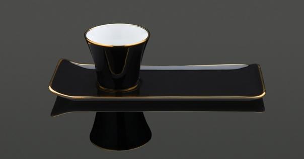 Tasse à café - Porcelaine française - Modèle Café des délices en noir - Lorenza-difilippo.fr