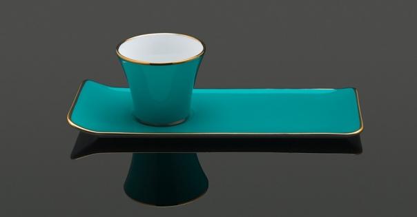 Tasse à café - Porcelaine française - Modèle Café des délices en turquoise - Lorenza-difilippo.fr