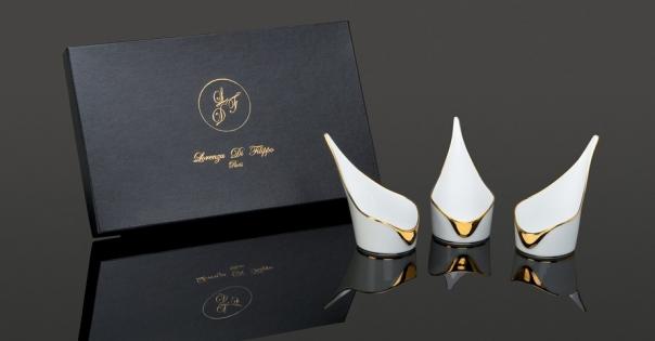 Coffret Amuses-bouche - Modèle Alizée GM - En blanc et or - Lorenza-difilippo.fr
