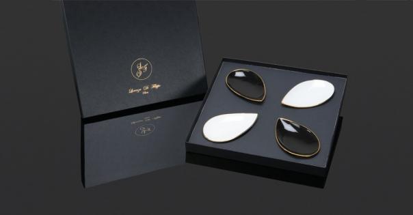 Coffret assiettes en porcelaine - Modèle Pétale Alizée - Photo non contractuelle - Lorenza-difilippo.fr