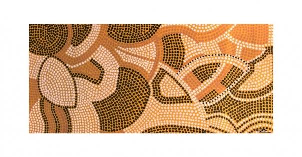 Tableau - Pointillisme sur toile modèle Terres Sacrées - Lorenza-difilippo.fr