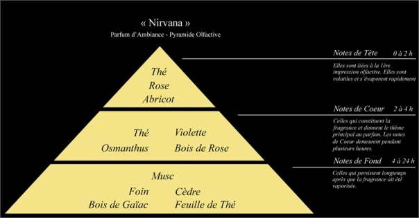 Pyramide olfactive Parfum d'ambiance Nirvana - Lorenza-difilippo.fr