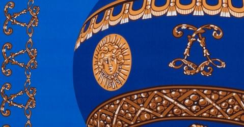 Foulard en soie imprimé - Modèle La Montgolfière bleue  - Lorenza-difilippo.fr