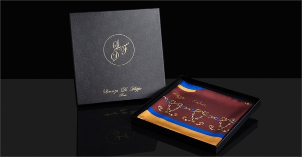 Foulard en soie marron et or - Modèle La Montgolfière marron - Lorenza-difilippo.fr