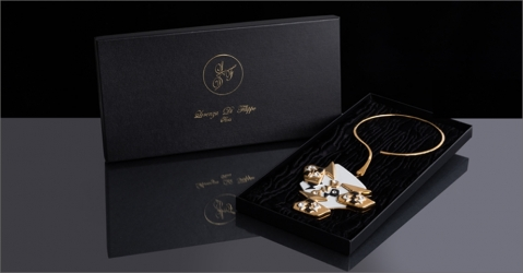 Collier de luxe - Modèle Lorena en or brillant - Lorenza-difilippo.fr