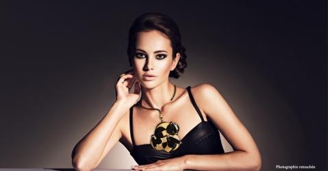 Bijou de Créateur Haute Couture - Modèle Perlia en noir et or - Lorenza-difilippo.fr