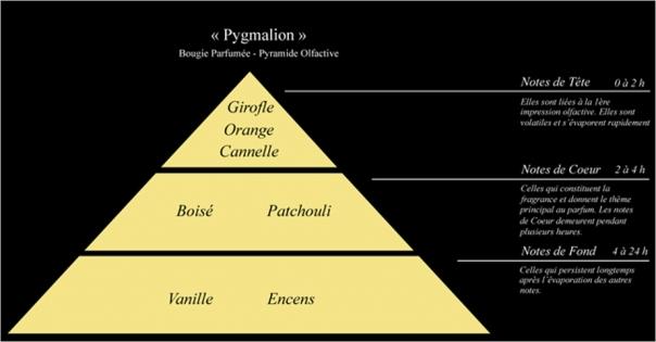 Pyramide olfactive bougie parfumée Pygmalion - Lorenza-difilippo.fr
